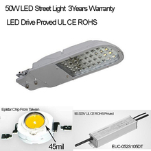 High Quality 3 Years Warranty  Street Light LED Fixture  IP65 90-305V 50W 130lm/W 3000K 4000K 6000K Available Free Shipping(China (Mainland))