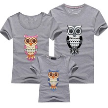 2015 New Family Look Owl Printed T Shirts 12 Colors Summer Family Clothes Father Mother Daughter