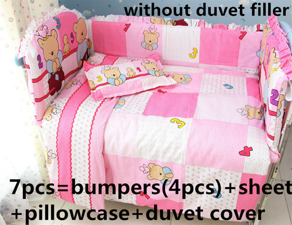 Promotion! 6PCS Baby Bedding Set Character Crib Bedding Set Cotton Baby Bedclothes,include (bumpers+sheet+pillowcase)<br><br>Aliexpress