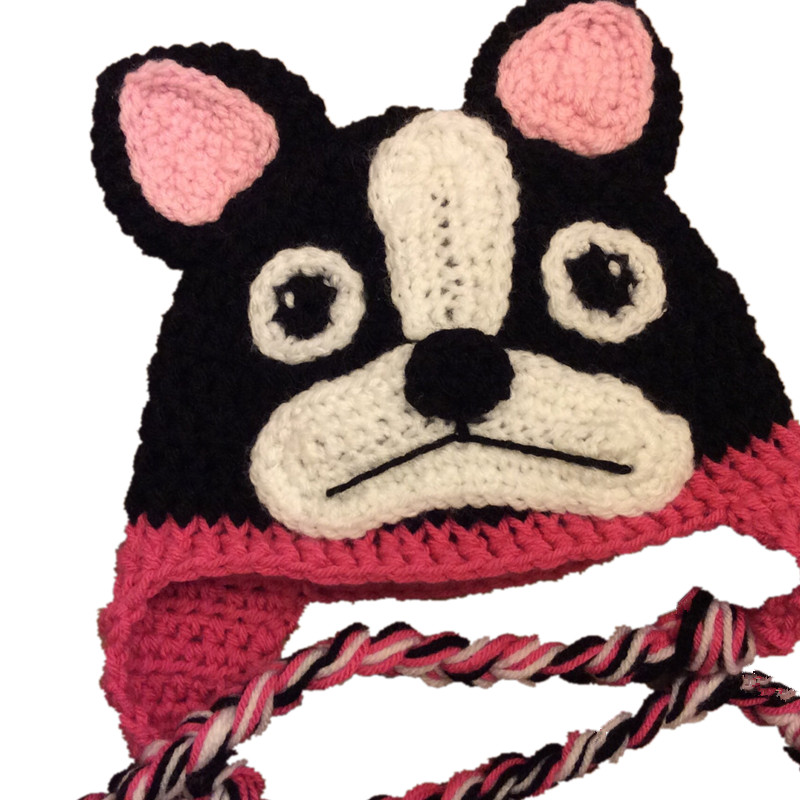 Novelty Boston Terrier Hat,Handmade Knit Crochet Baby Girl Pink Black Dog Animal Hat,Kids Fun Cap,Infant Toddler Photo Props(China (Mainland))