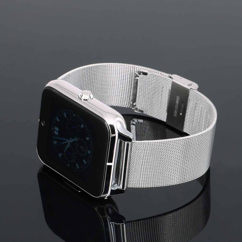 ถูก บลูทูธสมาร์ทนาฬิกาZ50อัจฉริยะนาฬิกาโทรศัพท์ที่มีกรอบโลหะหนังและสตีลสายGSM/GPRSช่องเสียบซิมNFCกล้อง