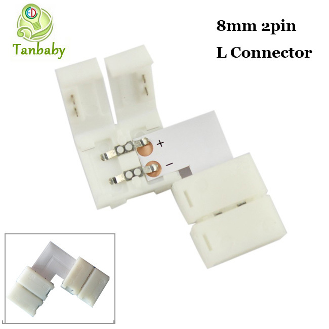 Гаджет  free shipping 100pcs 8mm 2pin led connector wireless L type No Need Soldering for 3528 led strip easy connector None Свет и освещение