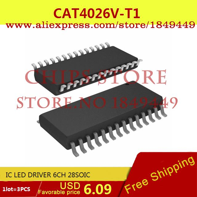 Free Shipping Diy Integrated Circuits CAT4026V-T1 IC LED DRIVER 6CH 28SOIC 4026 CAT4026 3pcs(China (Mainland))