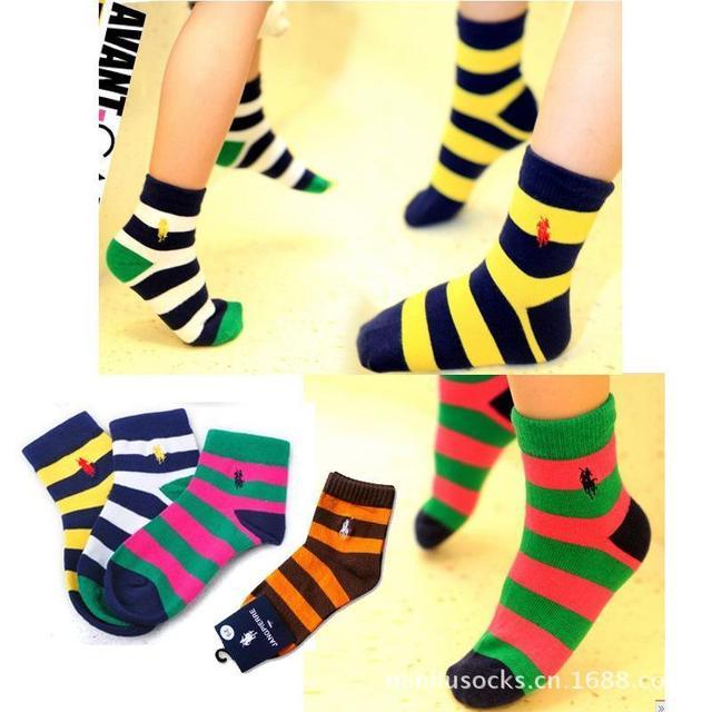Для 3 ~ 12 лет 3 размеры мальчик девочки дети тёплый полоска хлопок спорт polo носки ...