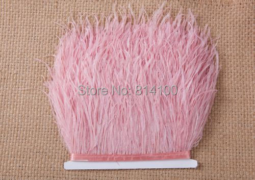 2Yard/lots Long Ostrich Light Pink Feather Plumes Fringe trim 10-15cm Feather Boa Stripe for Party Clothing Accessories Craft(China (Mainland))