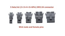 5 Sets/lot (2+3+4+5+6Pin) JST 2.54mm SM series Multipole Connector plug, With ternimal male and female