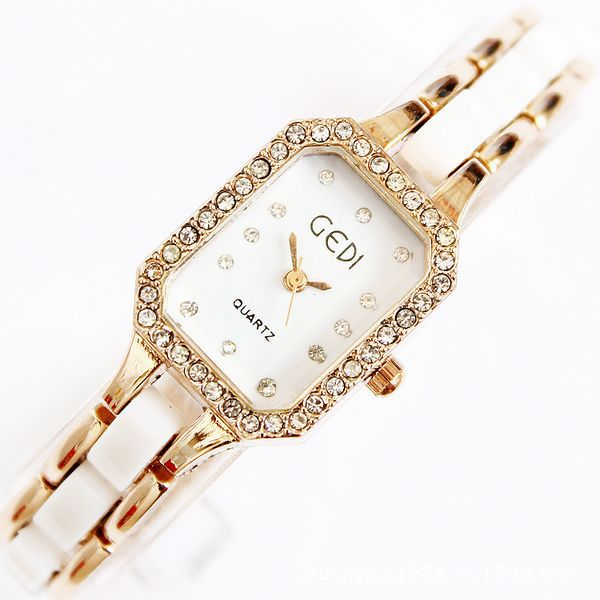 Gedi Brand With Square Diamond Bracelet Watch  Reloj De Acero Inoxidable Para Mujer Womens Wristwatch<br><br>Aliexpress