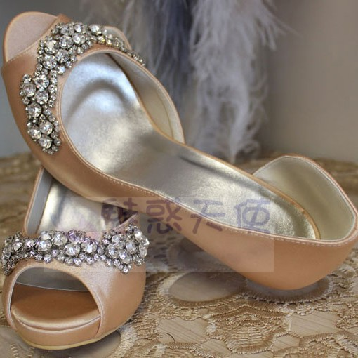MZ629 Wholesale Free Shipping Unique Designer Champagne Color High Heeled Wedding Bridal Shoes
