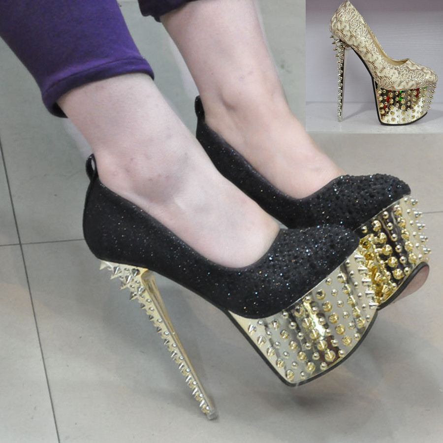 Gold High Heels With Spikes