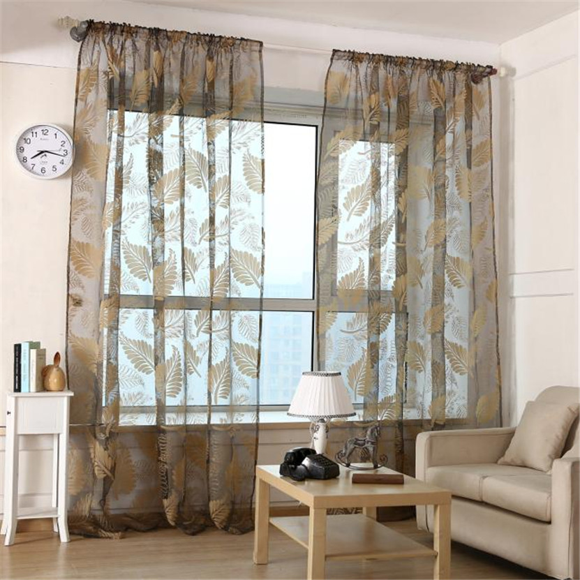 Zero 1 PC Leaf Tulle Door Window Curtain Drape Panel Sheer Scarf Valances(China (Mainland))