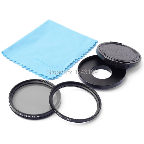 52mm Filter Adapter Glasses UV Lens + CPL Lens + Protective Cap For Gopro Hero 3 3+ LF367-SZ(China (Mainland))