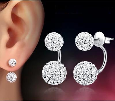 1$ lose money promotion wholesale 925 sterling silver fashion Shambhala ladies`stud earrings jewelry gift(China (Mainland))