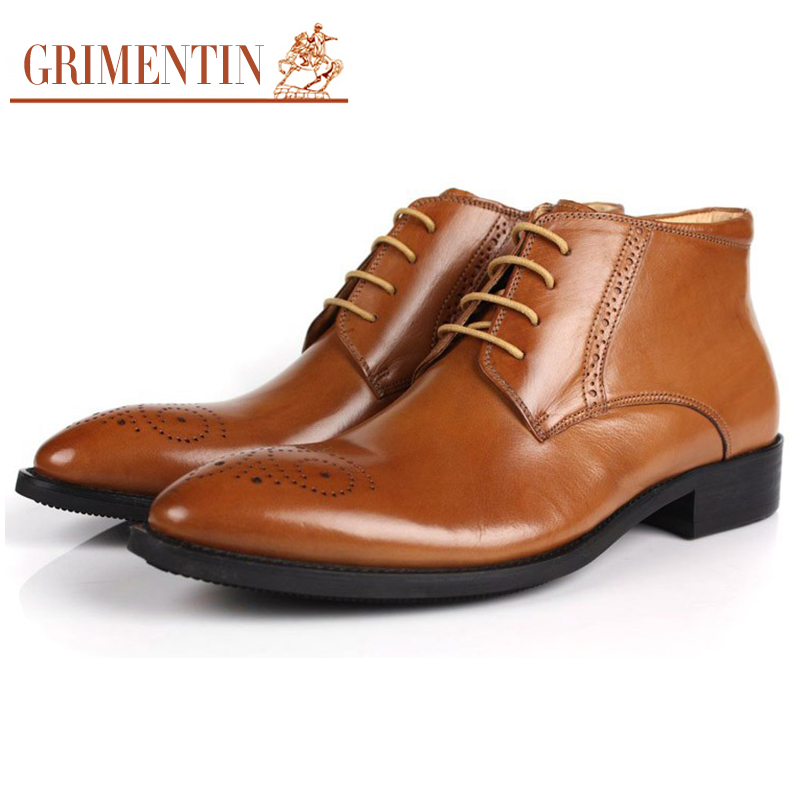 GRIMENTIN fashion classic vintage man ankle boots genuine leather carved toe black men shoes for business Large size 11 #648(China (Mainland))