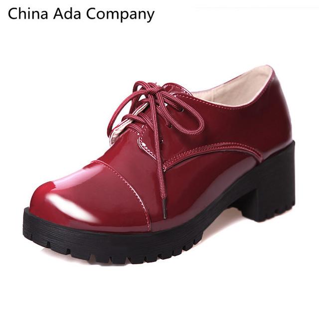 Новый 2016 осень весна женской обуви британский стиль винтаж баллок женщины толстые ...