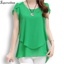 Soperwillton 2016 New Summer Women Blouse Loose Shirt O-Neck Chiffon Blouse Female Short Sleeve Blouse Plus Size 5XL Shirts D378(China (Mainland))