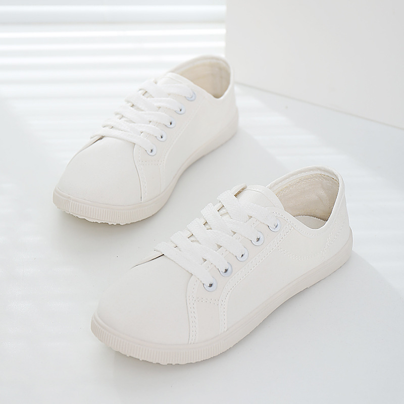 solid color soft outsole shoes thin white canvas shoes