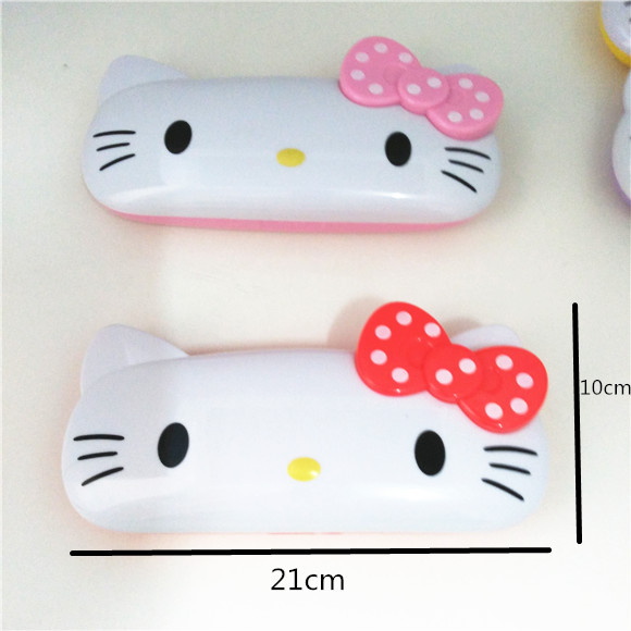 Cute Hello Kitty Pencil Bags double Pencil cases Glasses box/Receive a case office learning supplies The child gift(China (Mainland))