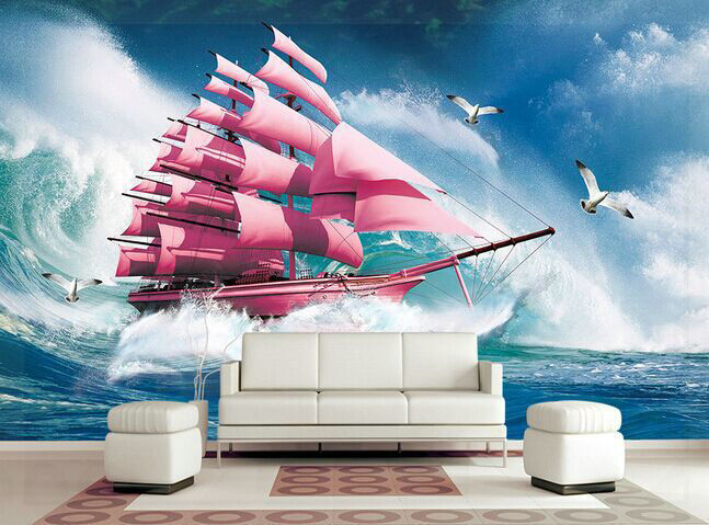 Free shipping sofa living room TV background wallpaper wallpaper mural red sailboat seagull living room(China (Mainland))