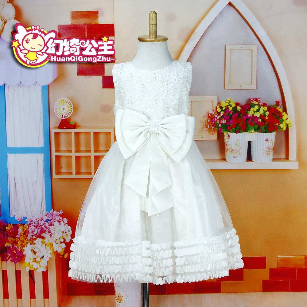 Girls Spring Dresses wedding dress of pure white lace princess dress models a generation of fat custom HQ044(China (Mainland))