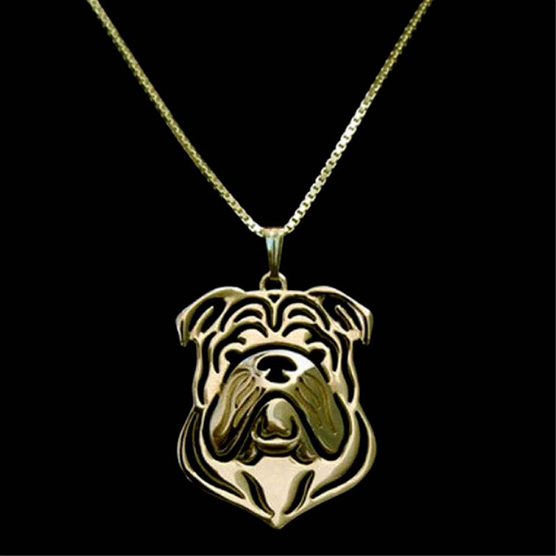 English Bulldog Dog Pendant Gold Plated Necklaces Charm Handmade For Pet Lovers Women Fashion Jewelry Stores Wholesale 10pcs(China (Mainland))