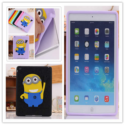Pretty Cute Cartoon Despicable 2 soft Silicon Case iPad Air Silicone 5 drop Shipping 7 Colors+flim - Tablet pc & Smart phone store