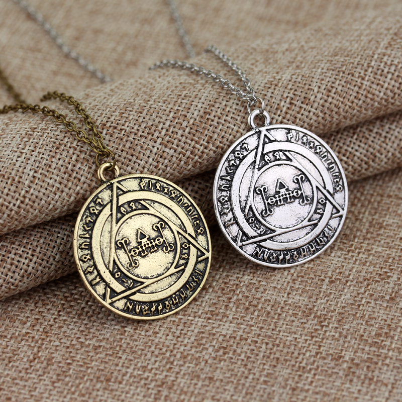 2 Color Magic Movie Harry Potter Classical silver and bronze Alloy Pendant Necklace 12pc/lot(China (Mainland))