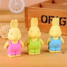2016 Korea Stationery Lifelike Rabbit wearing overalls Cute Eraser Cartoon eraser Creative Student Gifts