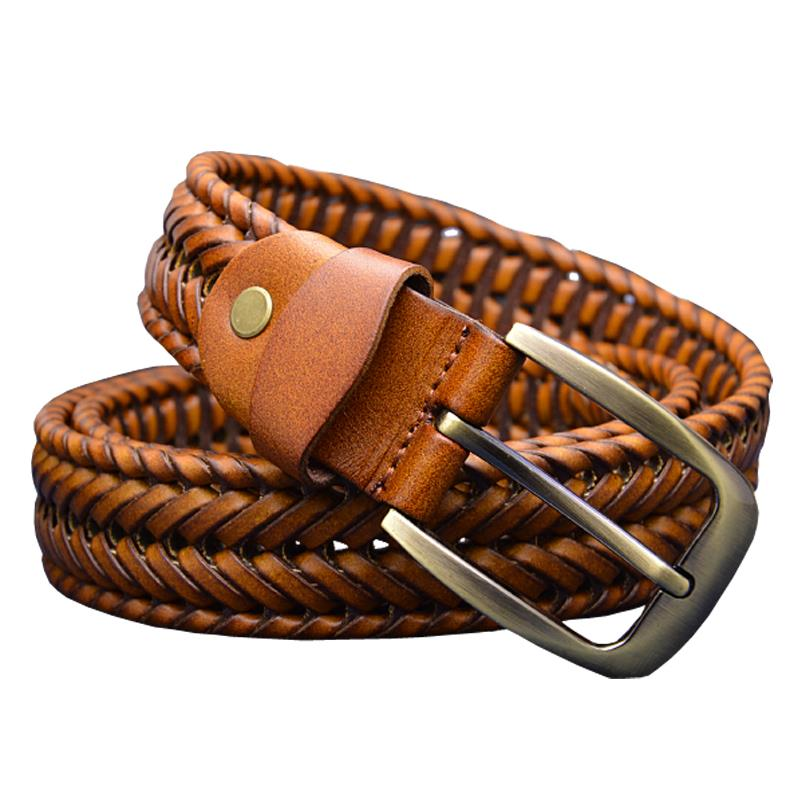 2015 New Belt Man Fashion Mens belts luxury genuine leather Brown braided Real Cow skin straps