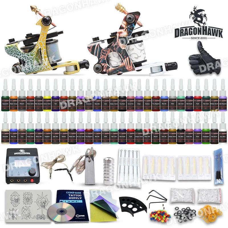 Tattoo Kit 2 Machines gun 54 color Ink Power supply needles set equipment D100-7<br><br>Aliexpress
