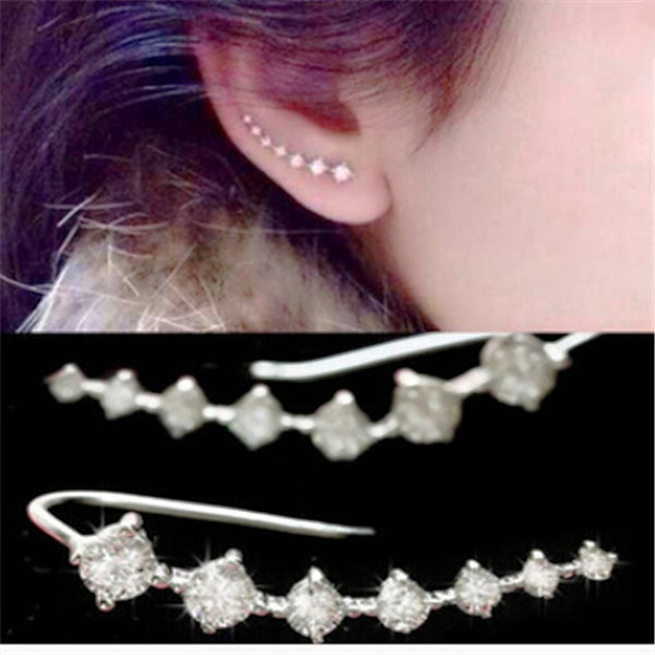 2pcs New Punk Rock Rhinestone Ear Cuff Wrap Earring Silver Piercing Ears Clips Cartilage Women Men Party Statement Jewelry(China (Mainland))
