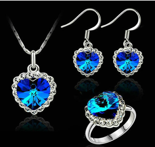 1 pieces,Special offer,Rigant,18k gold plated, Titanic, Heart ocean Necklace&Earrings&Rings Jewelry Sets, - cdfeifei Fashion jewellery store