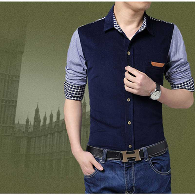 2016 New Arrival Men Shirt Fashion Patchwork Long Sleeve Slim Fit Shirt For Men Mens Shirt M_5XL(China (Mainland))