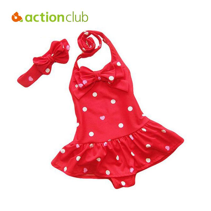 Actionclub Summer Bikini Baby Girls Swimsuit Summer Swimwear Spandex Made Children Swimming Clothing Polka Dot Pattern KW003(China (Mainland))