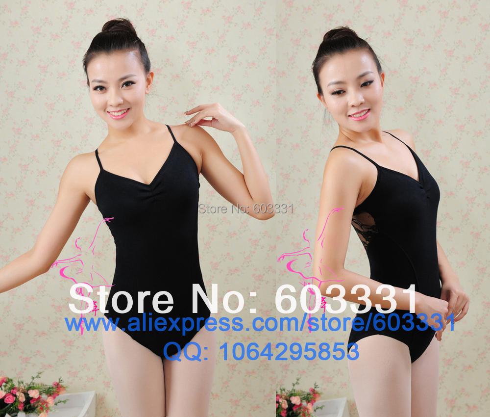 Ladies Women's Cotton Ballet Leotards Yoga Fitness Gymnastics Dance Leotard Back Lace Black 3Sizes - dance dress store