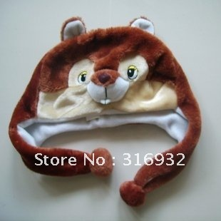 J4 Free Shipping, Super cute squirrel plush hat,so soft and fashionable