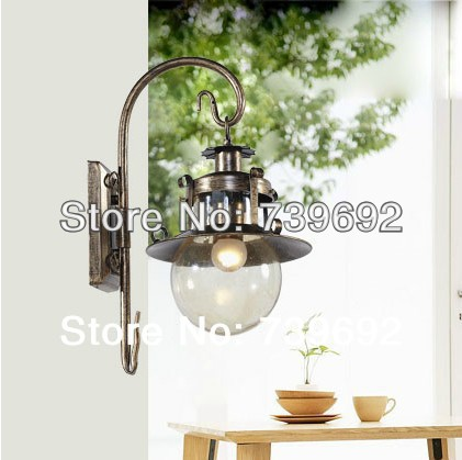 EAmerican fashion W26*45H cm vintage rustic wrought iron wall lamp antique black +glass ball lamp shade<br><br>Aliexpress