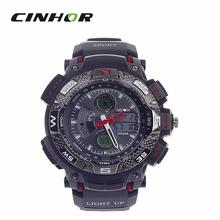 Ohsen AD1310 del deporte de hombre militar ejército relojes analógico + Digital de pulsera de cuarzo – negro + rojo ( 1 x CR-2025 )