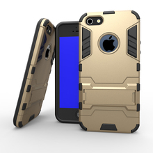 2 in 1 Silicon TPU + PC Cover Stand Cases Luxury Rugged Mobile Phone Accessories Hybrid For Apple iPhone 5 5s Case