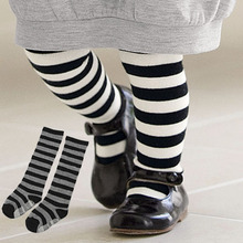 New Children Baby Girls In tube Socks Stripes Combed Cotton Stocking Leggings Hot