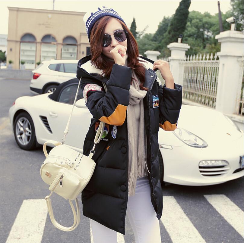 2016 winter jacket women military print parkas duck down loose fit coat medium pathchwork plus size overcoat snowear w-052