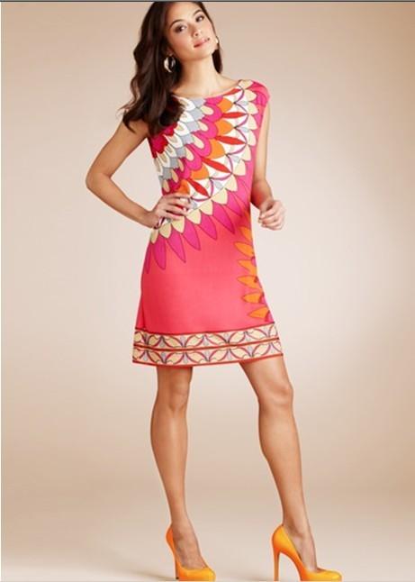 Fashion womens fashion elegant red feather print short-sleeve o-neck slim elastic thin one-piece dressОдежда и ак�е��уары<br><br><br>Aliexpress