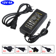 12V 6A 72W AC/DC Power Supply driver Transformer Adapter US/UK/EU/AU Standard AC220 to DC12 for 5050 3528 5730 LED Strip Light(China (Mainland))