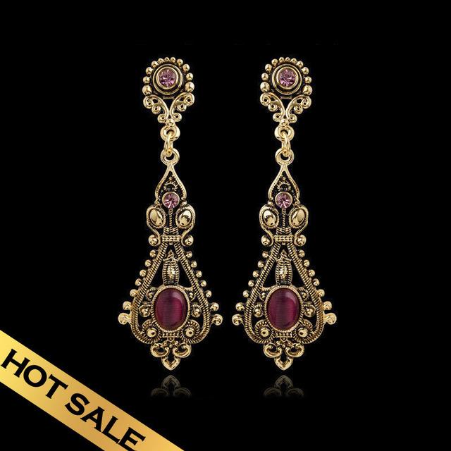 Special Vintage Alloy Drop Earrings Free Shippings Red Opal Long Earrings For Girls Women Wholesale EHB09A2503