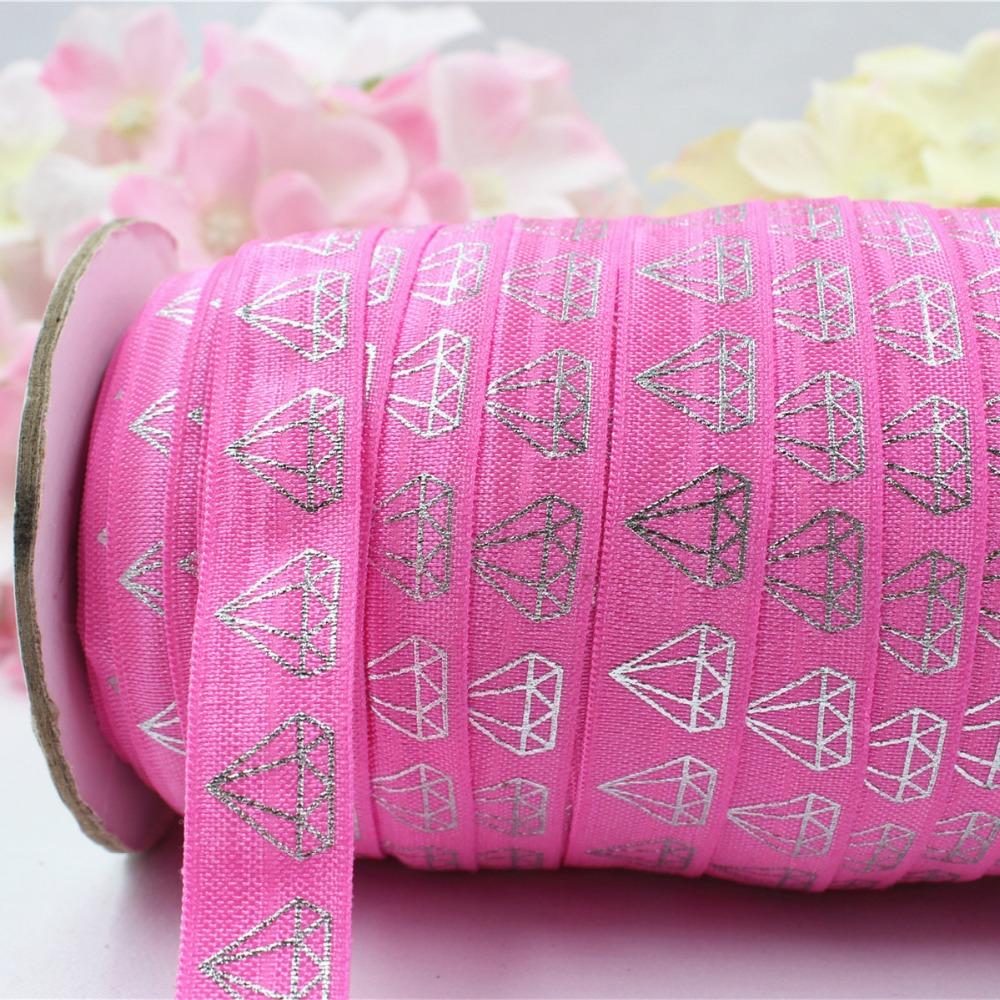 16608-8, 5/8'' 16MM hot Silver print diamond Elasticity ribbon , 5 yards DIY handmade hair accessories Material , free shipping(China (Mainland))