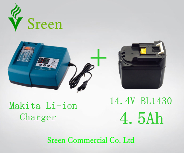 4500mAh Rechargeable Battery Replacement for Makita 14.4V BL1430 with Universal Power Tool Li-ion Battery Charger Free Shipping(China (Mainland))