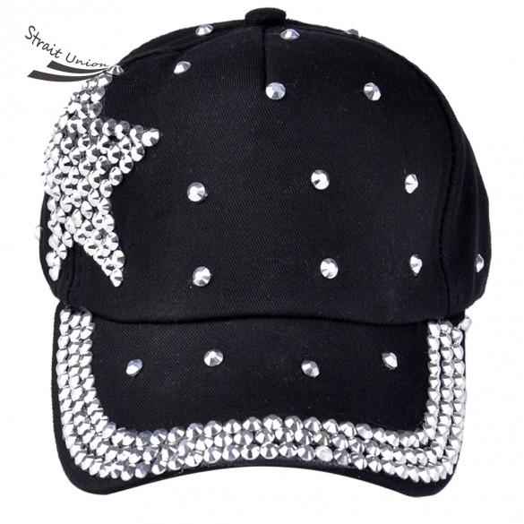 2016 HOT fashion children cap most popular rhinestone star shaped pink blue black color children baseball cap B2(China (Mainland))