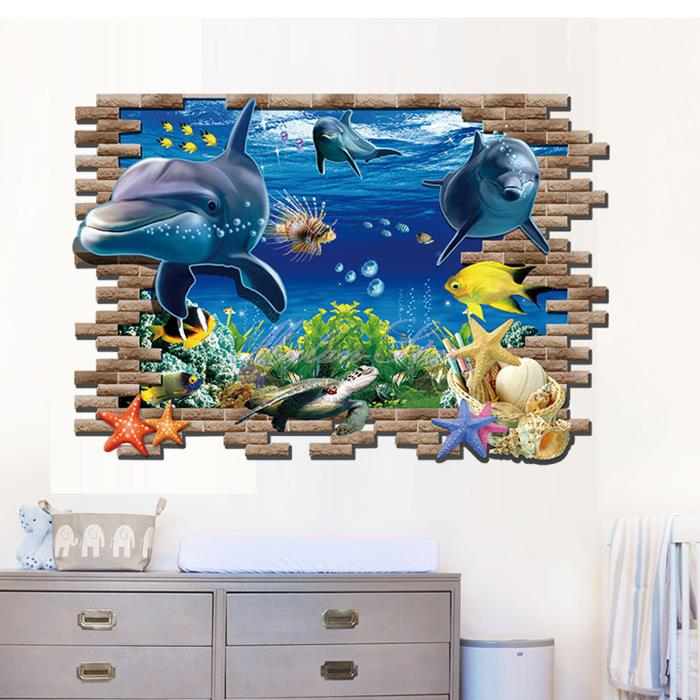 3d underwater world dolphin aquarium art atoll reef wall for Aquarium mural wallpaper