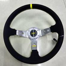 13-inch matte leather Car steering wheel / silver bracket Universal Racing Wheel New 2016(China (Mainland))