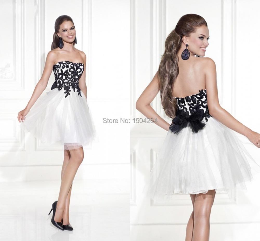 Black And White Masquerade Ball Dresses White Prom Dresses Short Black
