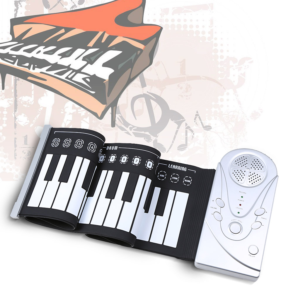 Portable 49 Keys Electronic Piano Flexible Unique Design Roll Up Piano Durable Soft Silicone Rubber Keyboard Piano(China (Mainland))